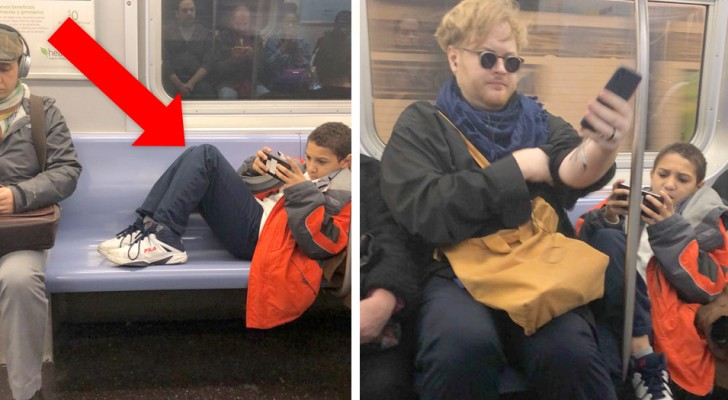 A boy refuses to remove his feet from the empty seats and the gesture of a stranger teaches him a lesson!