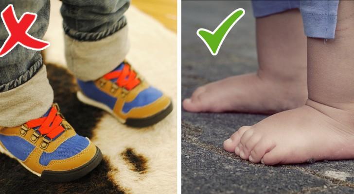 Veja o que acontece quando uma criança caminha com os pés descalços
