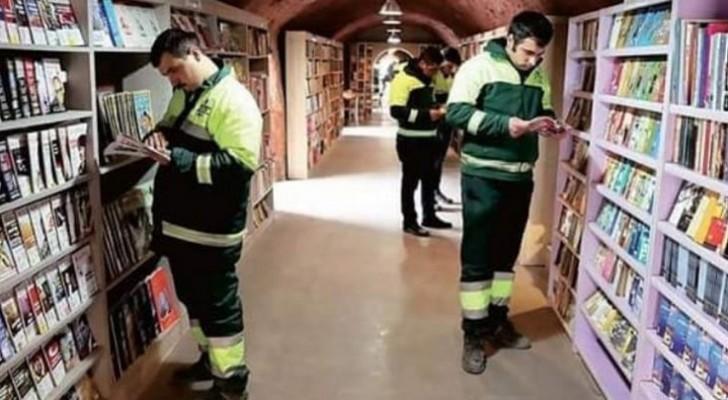 Estes coletores de lixo deram vida a uma maravilhosa biblioteca com os livros que encontraram no lixo