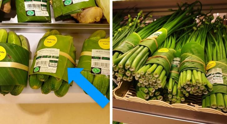 Ce supermarché thaïlandais emballe les aliments dans des feuilles de bananier pour réduire la consommation de plastique