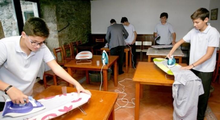 Diese Schule hat die Zeit für häusliche Aktivitäten eingeleitet: Die Kinder lernen bügeln, waschen und kochen