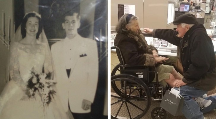 After almost 65 years of marriage, he kneels again in front of his wife and his gesture of love is one of rare beauty
