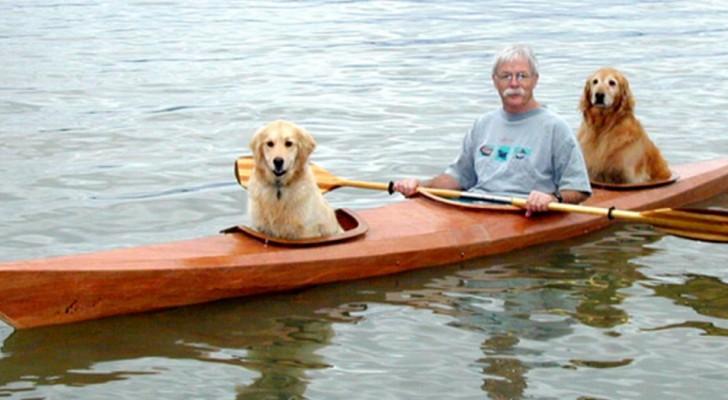 Um homem constrói um caiaque especial para navegar junto com seus cachorros: a amizade deles é comovente