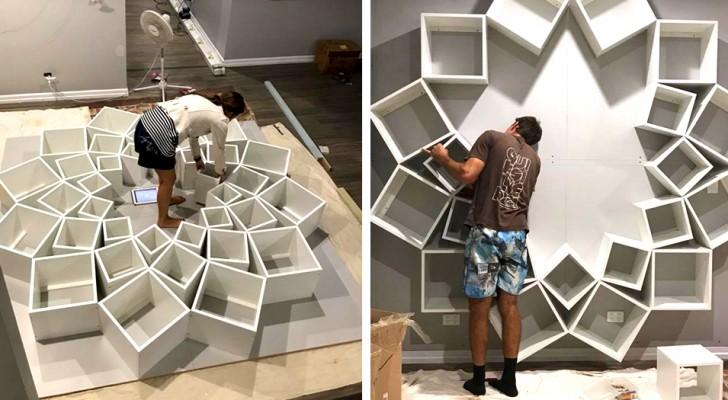 Een stel maakt een nieuwe boekenkast voor hun kinderen: het resultaat is de droom van elke boekenwurm