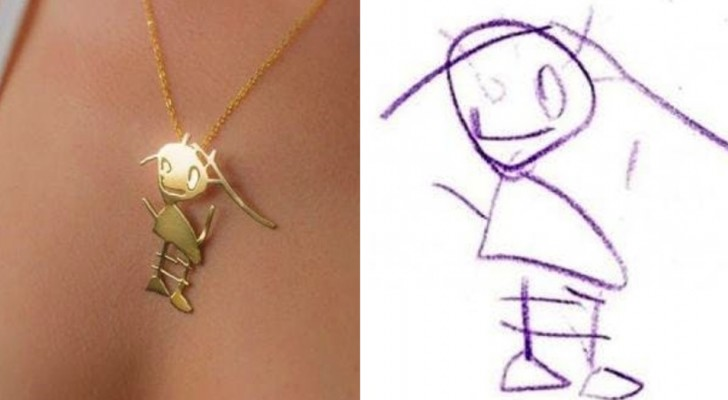 A company transforms children's drawings into magnificent pendants that can be kept forever