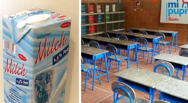 Trasformare vecchi contenitori di tetra pak in banchi scolastici, per risolvere due problemi in una volta