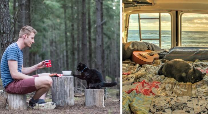 Lascia il lavoro, vende tutto e parte per un viaggio on the road col suo gatto: le foto fanno sognare ad occhi aperti