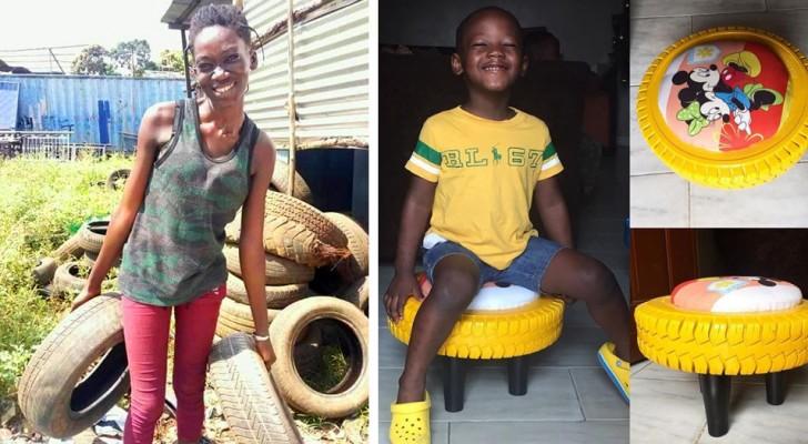 Questa ragazza nigeriana raccoglie gli pneumatici dalla strada e li trasforma in graziosi mobili