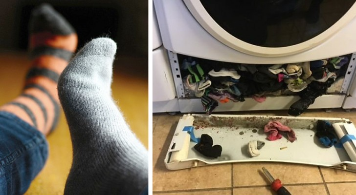 """Het """"mysterie"""" van de verdwenen sokken is opgelost: het is eigenlijk de wasmachine die ze kwijtraakt!"""