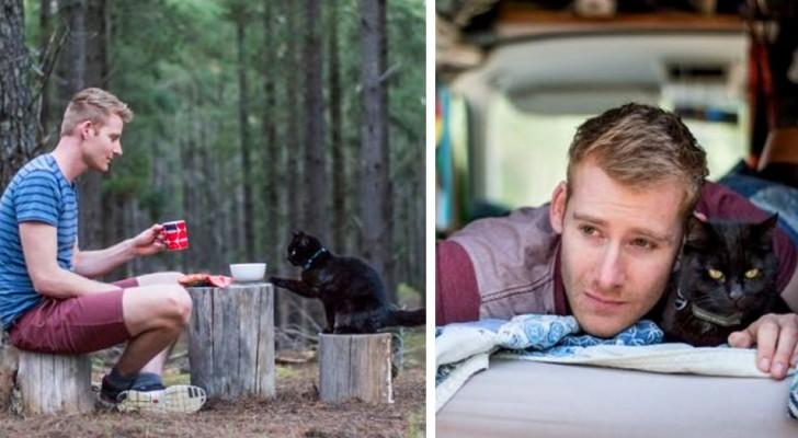 Questo ragazzo ha lasciato il lavoro e venduto tutto ciò che aveva per girare il mondo insieme alla sua gatta