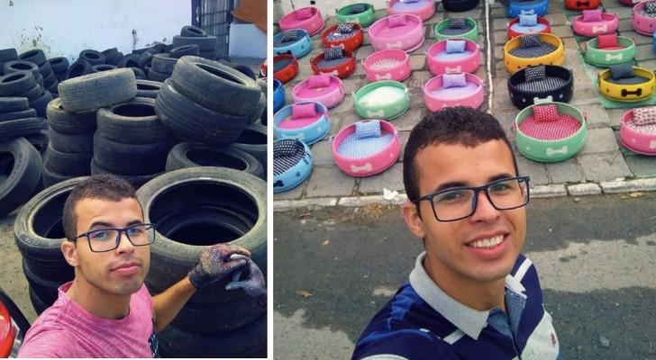 Deze jongen heeft honderden oude banden gerecycled en er mooie manden voor zwerfhonden van gemaakt