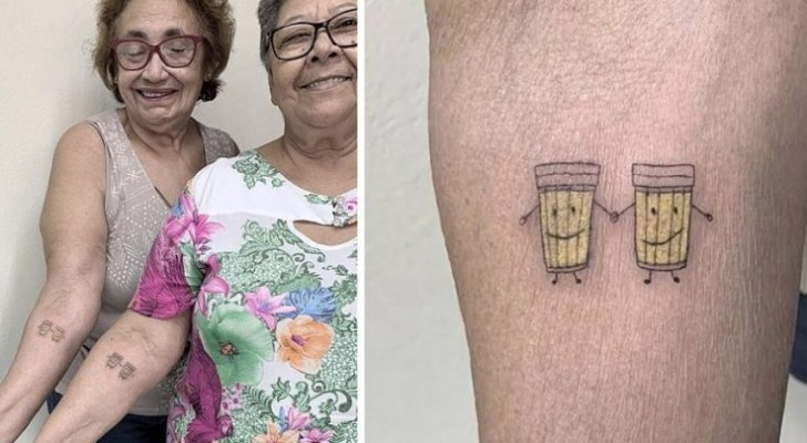 These two women celebrated their 30 years of friendship by getting two smiling beer mug tattoos