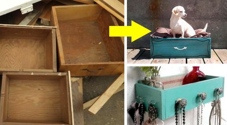 Non gettare via i vecchi cassetti dei mobili! Queste immagini ti daranno mille spunti per riutilizzarli