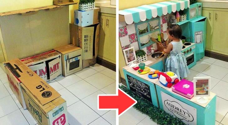 Una mamma trasforma dei semplici scatoloni in una stupenda cucina giocattolo per sua figlia