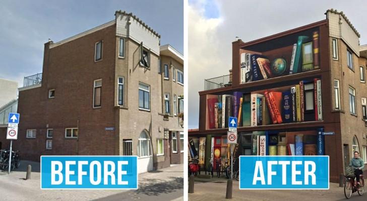 Een kunstenaar schildert een enorme boekenkast op de gevel van een flatgebouw met de favoriete titels van de bewoners