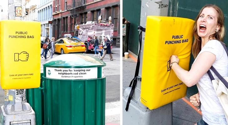 In Manhattan zijn bokszakken  geïnstalleerd om je opgehoopte frustratie op af te reageren