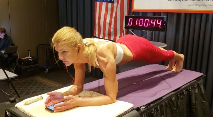 Een vrouw brak het wereldrecord planking door 4 uur en 20 minuten in positie te blijven