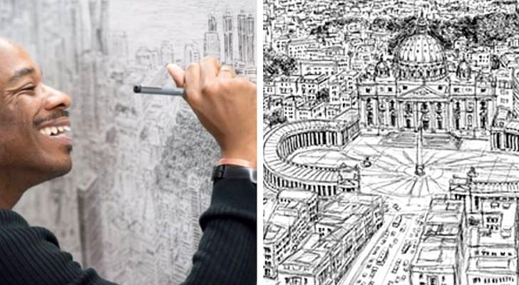 Ce garçon autiste est capable de dessiner des villes entières de mémoire : ses œuvres sont hors du commun