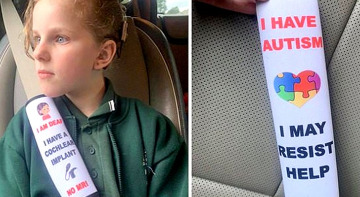 A mother invents safety belts that warn doctors about a  child's pathology in the event of an accident!
