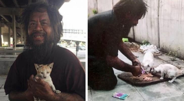 Den här hemlösa mannen säljer kassar med citroner för att kunna köpa mat till gatukatter