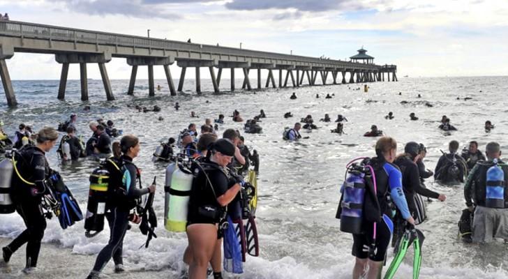 Diese 633 Taucher haben Geschichte geschrieben, indem sie die größte Unterwasserreinigung durchgeführt haben, die je gesehen wurde