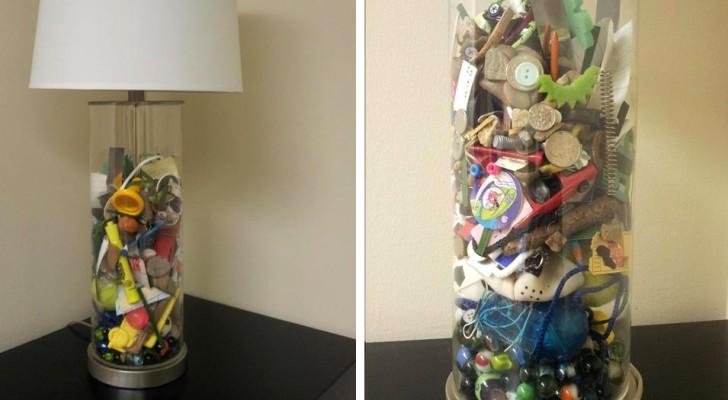 Questa mamma ha realizzato una lampada con tutti gli oggetti del figlio raccolti in anni di lavatrici