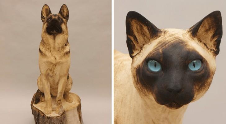 Cet artiste transforme des bûches de bois en animaux réalistes : les images semblent prendre vie