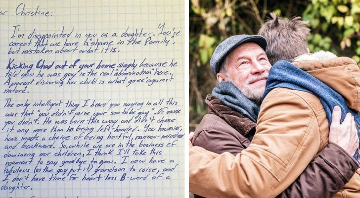 A mother throws her gay son out of the house, and his maternal grandfather defends him by telling her: You are the one who is against nature!.