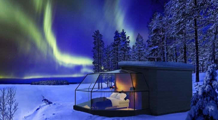 Dieses moderne Iglu ermöglicht es Ihnen, das Nordlicht direkt vom Schlafzimmer aus zu bewundern
