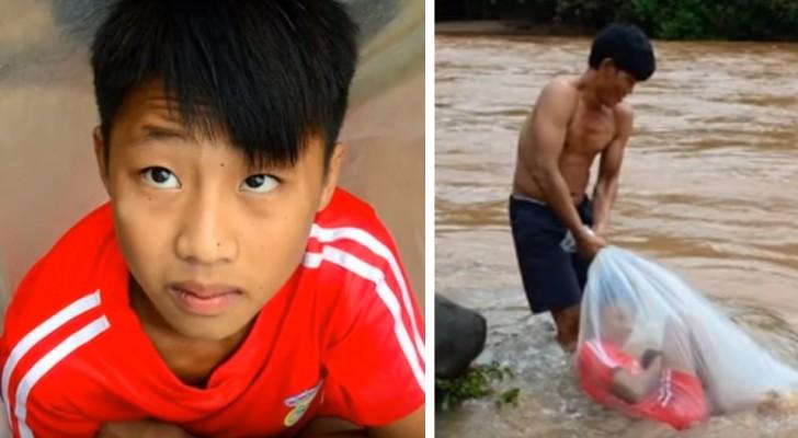 De kinderen uit dit dorp steken een rivier over in enorme plastic zakken, alleen maar om naar school te kunnen gaan