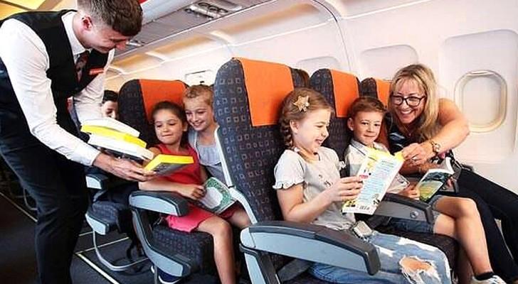 Esta companhia aerea distribui livros para as crianças para que não usem tablets e smartphones durante o voo