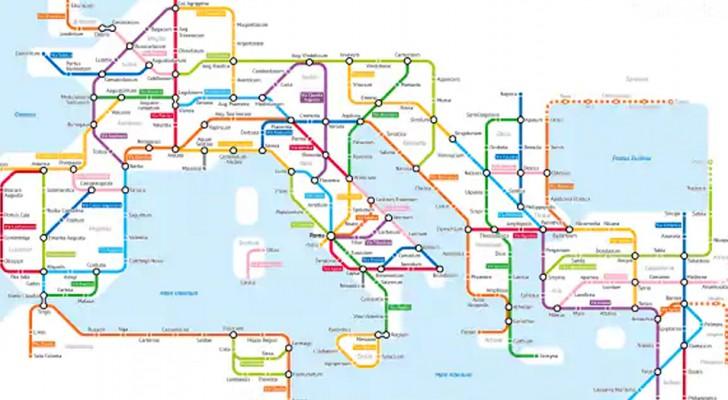 Een Amerikaanse deskundige komt op het geniale idee het Romeinse Rijk weer te geven als een metronetwerk