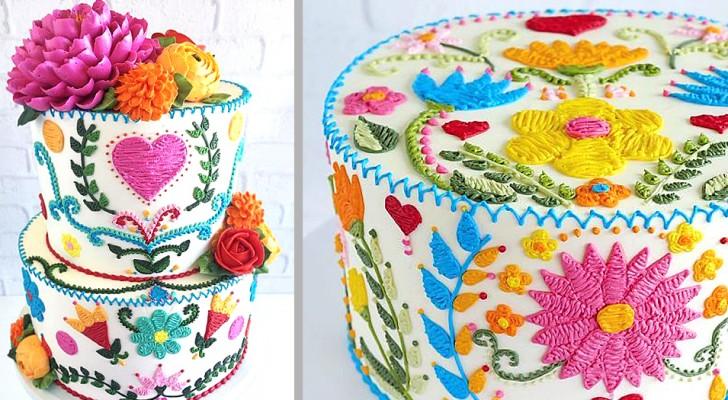 Questa artista crea torte e dolci coloratissimi che sembrano decorati con ago e filo!