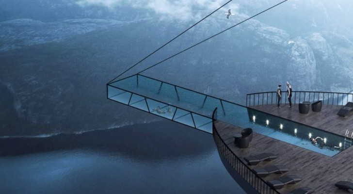Un hôtel avec piscine surplombant un fjord norvégien : tel est le projet évocateur de cet architecte