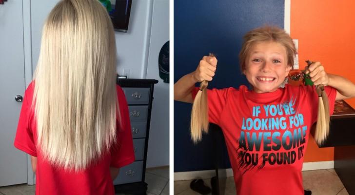 Este niño se hace crecer los cabellos por 2 años y luego los dona a niños de su edad que tienen necesidad