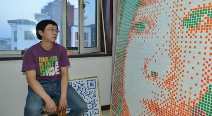 Il réalise un portrait géant de la fille qu'il aime avec 840 Rubik's Cube, mais elle continue de le rejeter