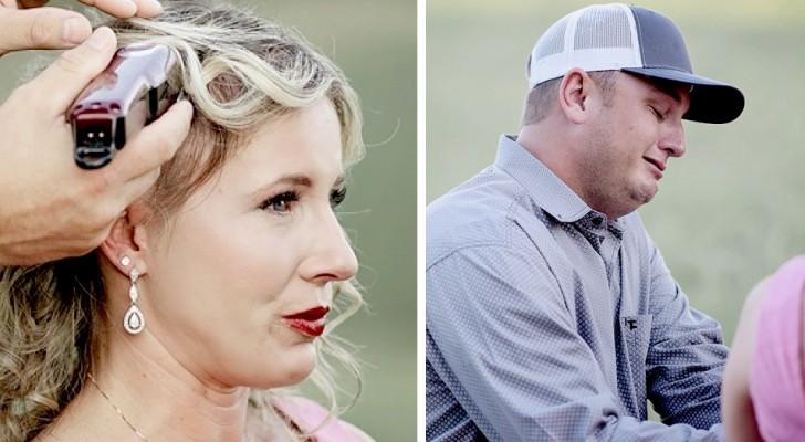 De aangrijpende beelden van een man die het haar van zijn zieke vrouw knipt voordat de kuur begint