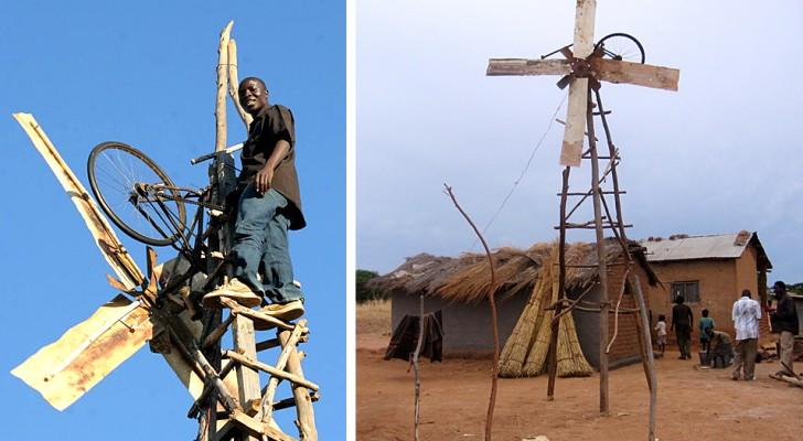Dieser Typ schuf eine Windmühle aus Abfallstoffen, um Strom in sein Dorf zu bringen