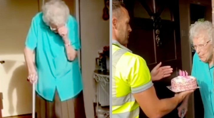 She turns 100 and lives alone but the neighborhood ​​garbage collectors surprise her with a birthday cake!