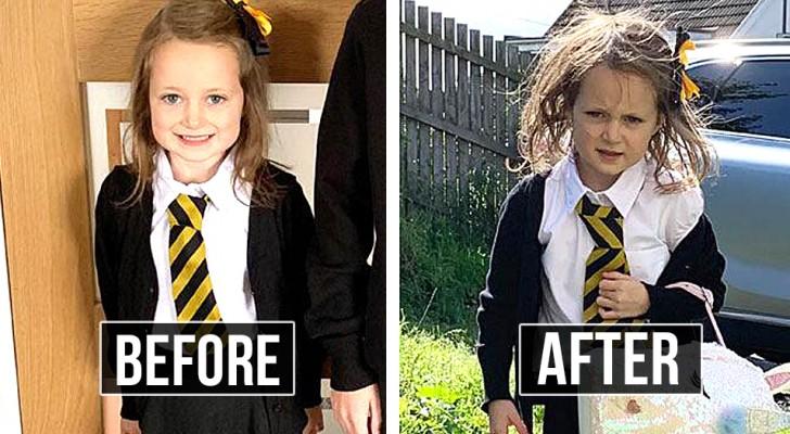 Prima e dopo il rientro a scuola: 20 foto esilaranti di bambini al loro primo giorno