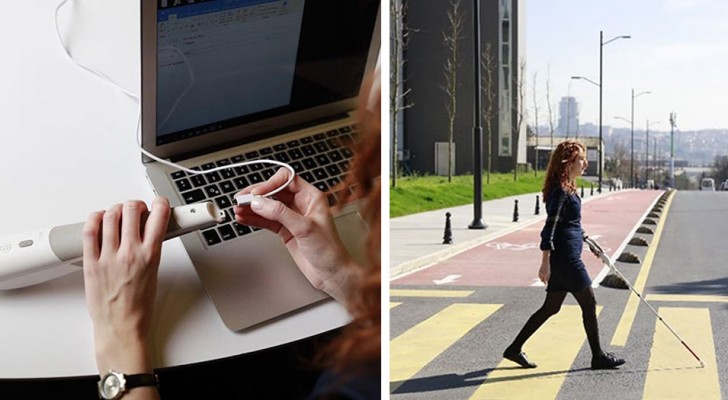 Een ingenieur vindt een stok uit die dankzij Google Maps de blinden helpt zich gemakkelijker te verplaatsen