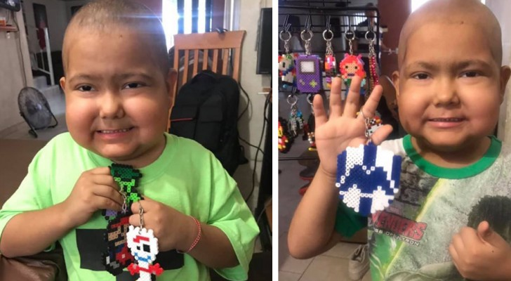 This child suffering from cancer makes colored keyrings to help pay for his medical treatment