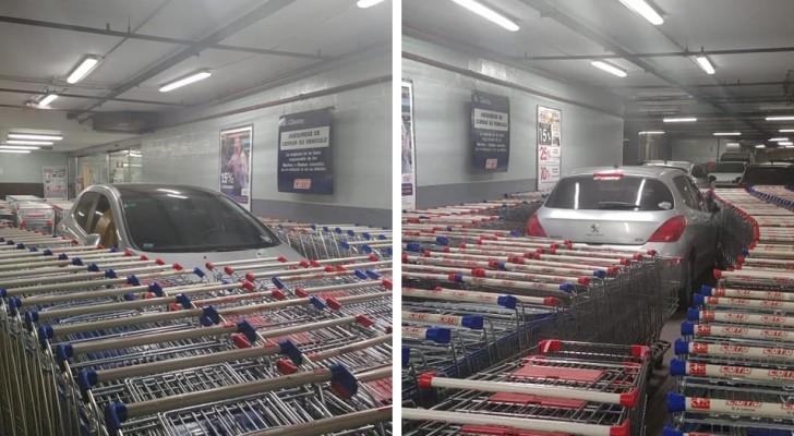 Er parkt sein Auto im reservierten Bereich des Supermarktes und die Mitarbeiter blockieren es mit einer Schranke von Einkaufswagen