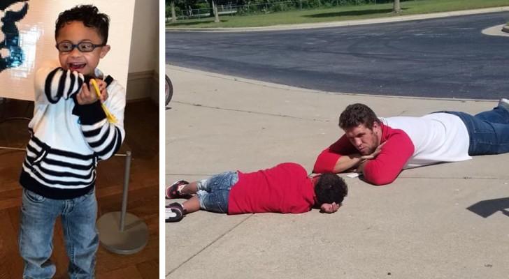Este menino autista tem uma crise enquanto espera o ônibus: o assistente o acalma se deitando no chão com ele