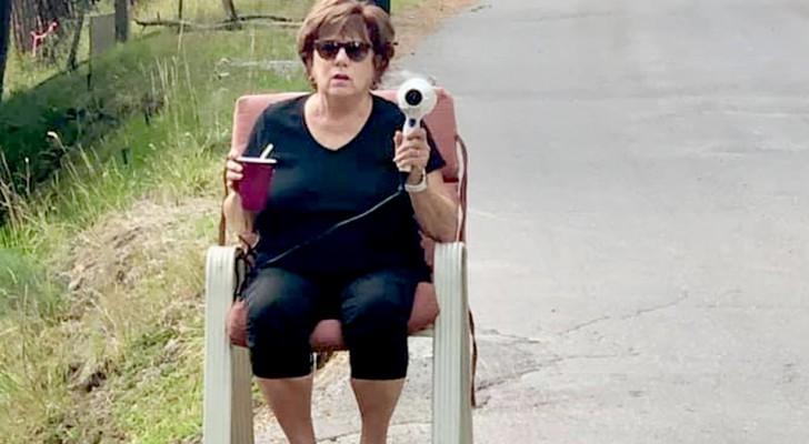 Den här kvinnan använder en hårtork som hastighetskamera för att få bilarna att sakta ner