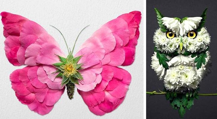 Quest'uomo riesce a trasformare dei semplici fiori in sorprendenti sculture a tema animale