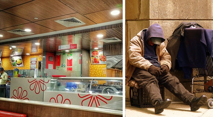A woman buys fast food for a group of homeless people then they are all asked to leave