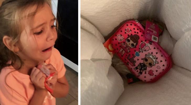 Sie wirft ihre neues Mäppchen in den Müll, aber die Mutter bestraft sie, indem sie ihr eine Plastiktüte als Federmappe gibt