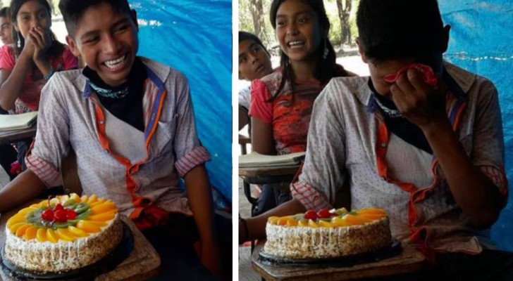 A poor student is moved when his teacher gives him his first birthday cake