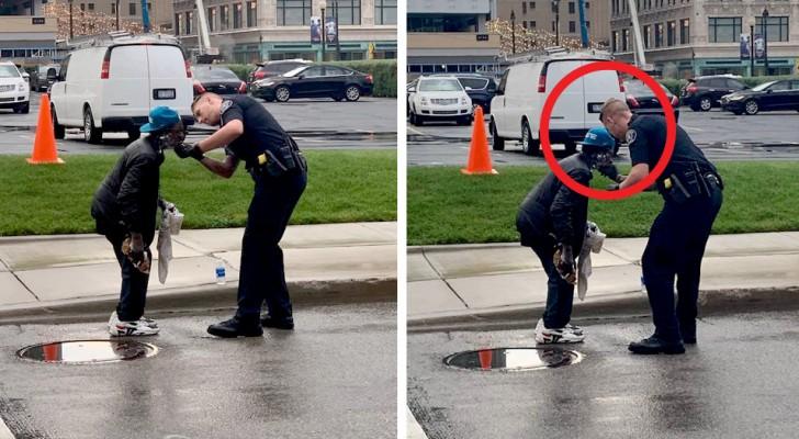 Den här polisen ser en hemlös man på gatan så han går fram och hjälper honom att raka sig